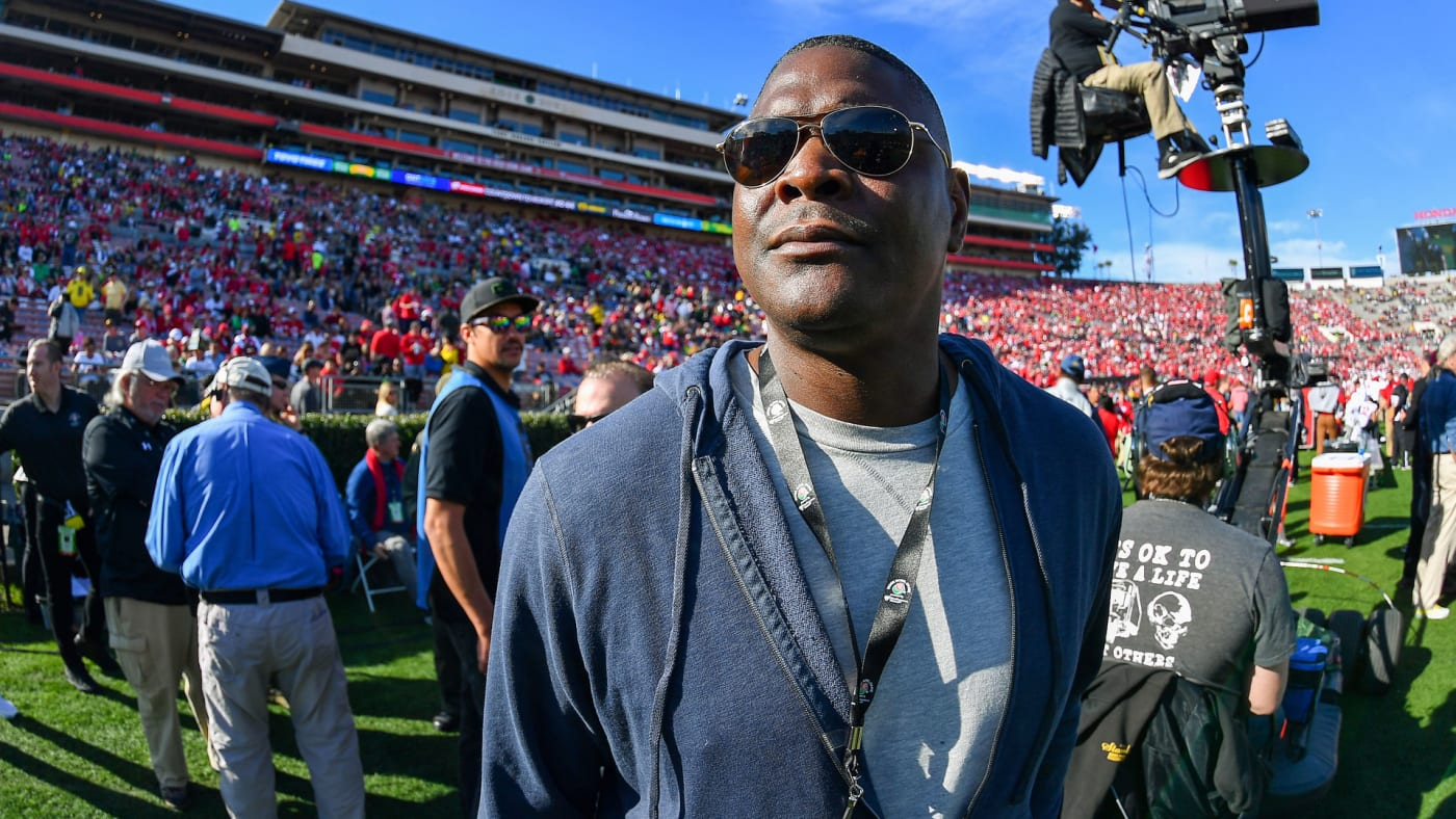 Former NFL player Keyshawn Johnson at the 2020 Rose Bowl.