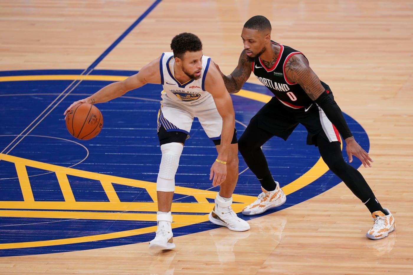 Steph Curry Damian Lillard Warriors Blazers 2021