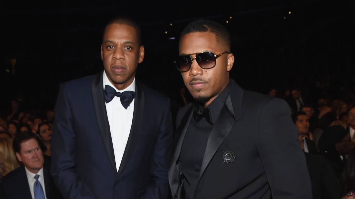 Jay Z and Nas attend The 57th Annual GRAMMY Awards at the STAPLES Center