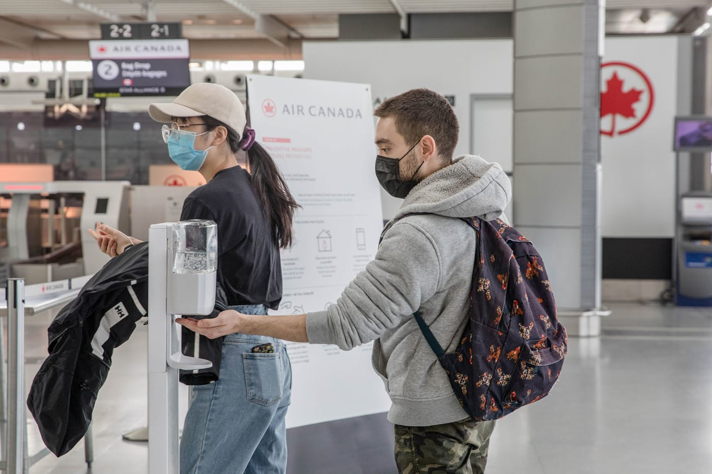 Travellers at Toronto's Pearson airport during pandemic