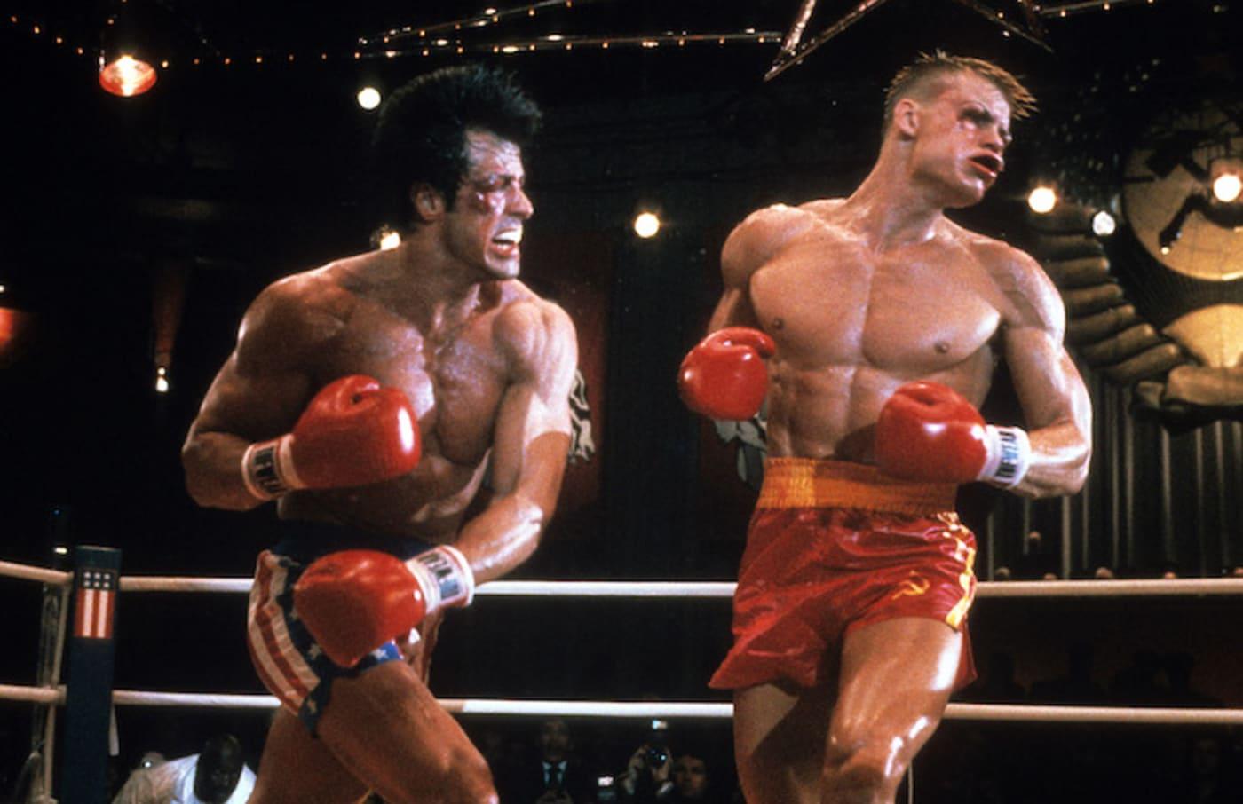 Rocky Balboa punching Ivan Drago.