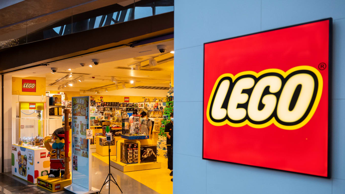 A logo for the company behind the Lego fleet of toys.