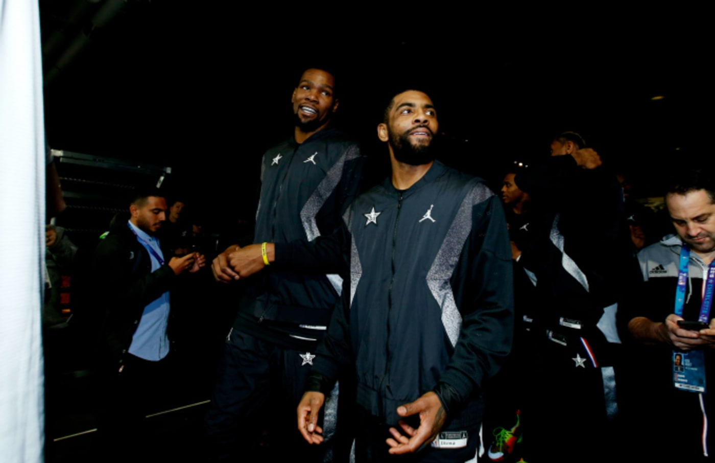 Kevin Durant #35 and Kyrie Irving #11 of Team LeBron