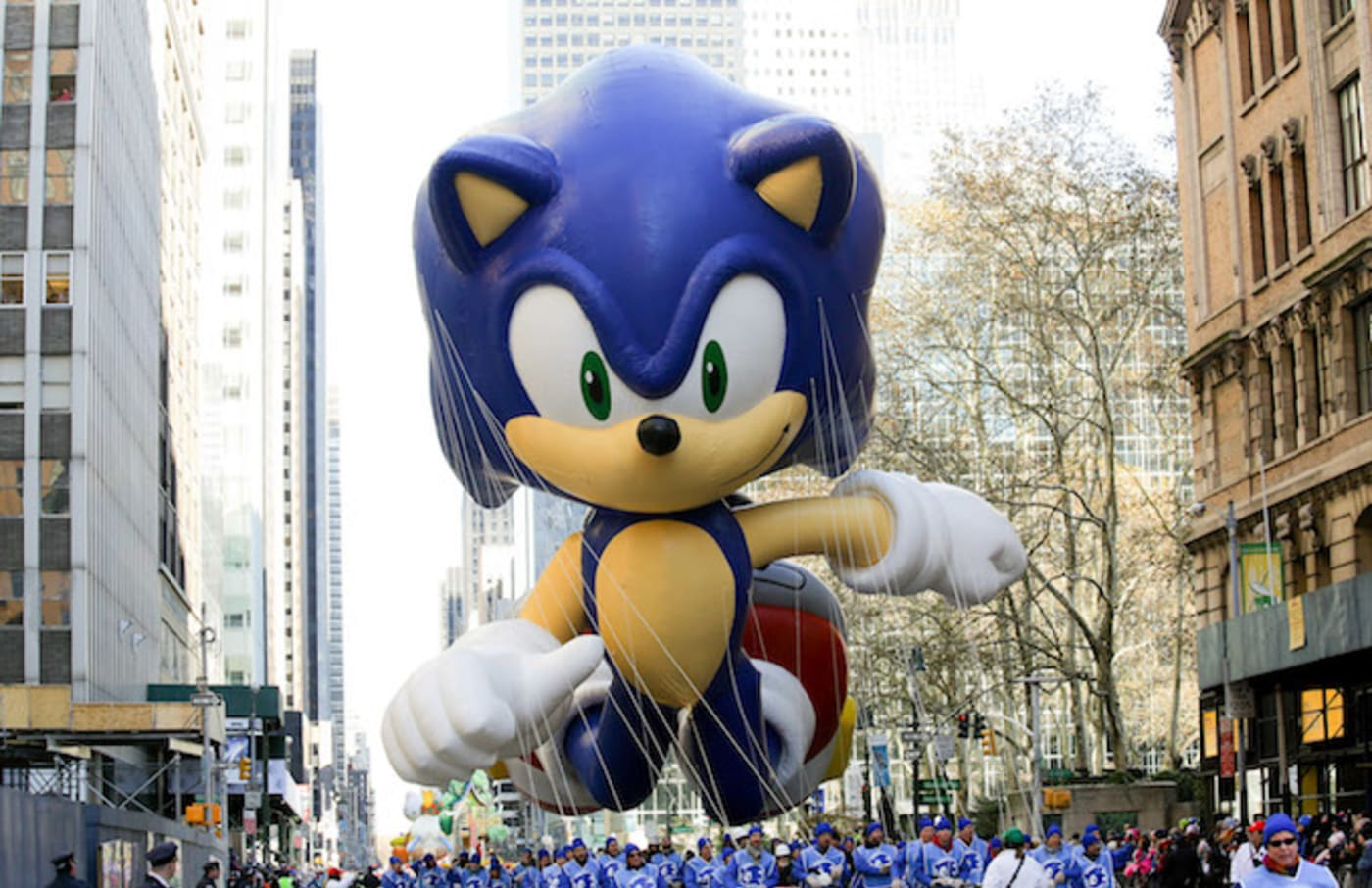 The Sonic the Hedgehog balloon is seen during the 87th Annual Macy's Thanksgiving Day Parade/