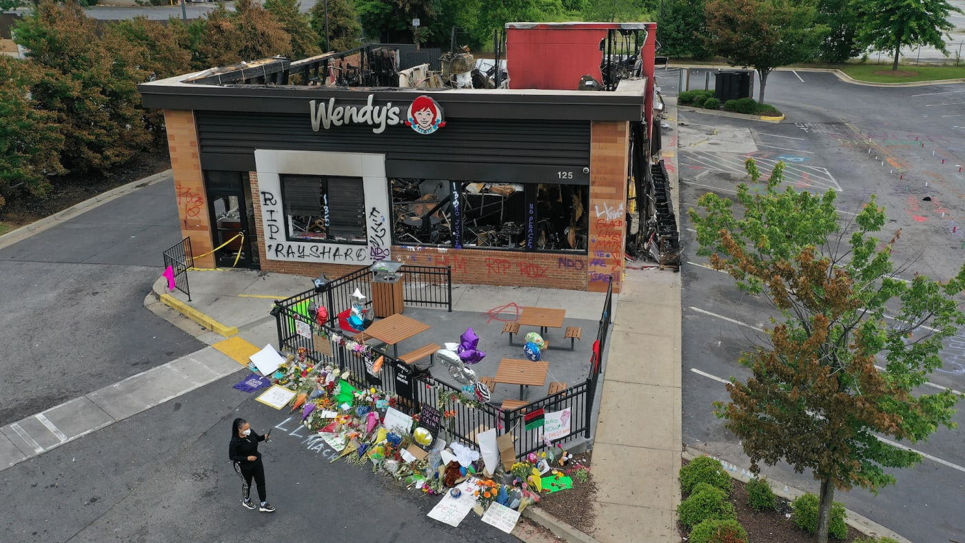 Wendy's restaurant set on fire by demonstrators after Rayshard Brooks was killed.