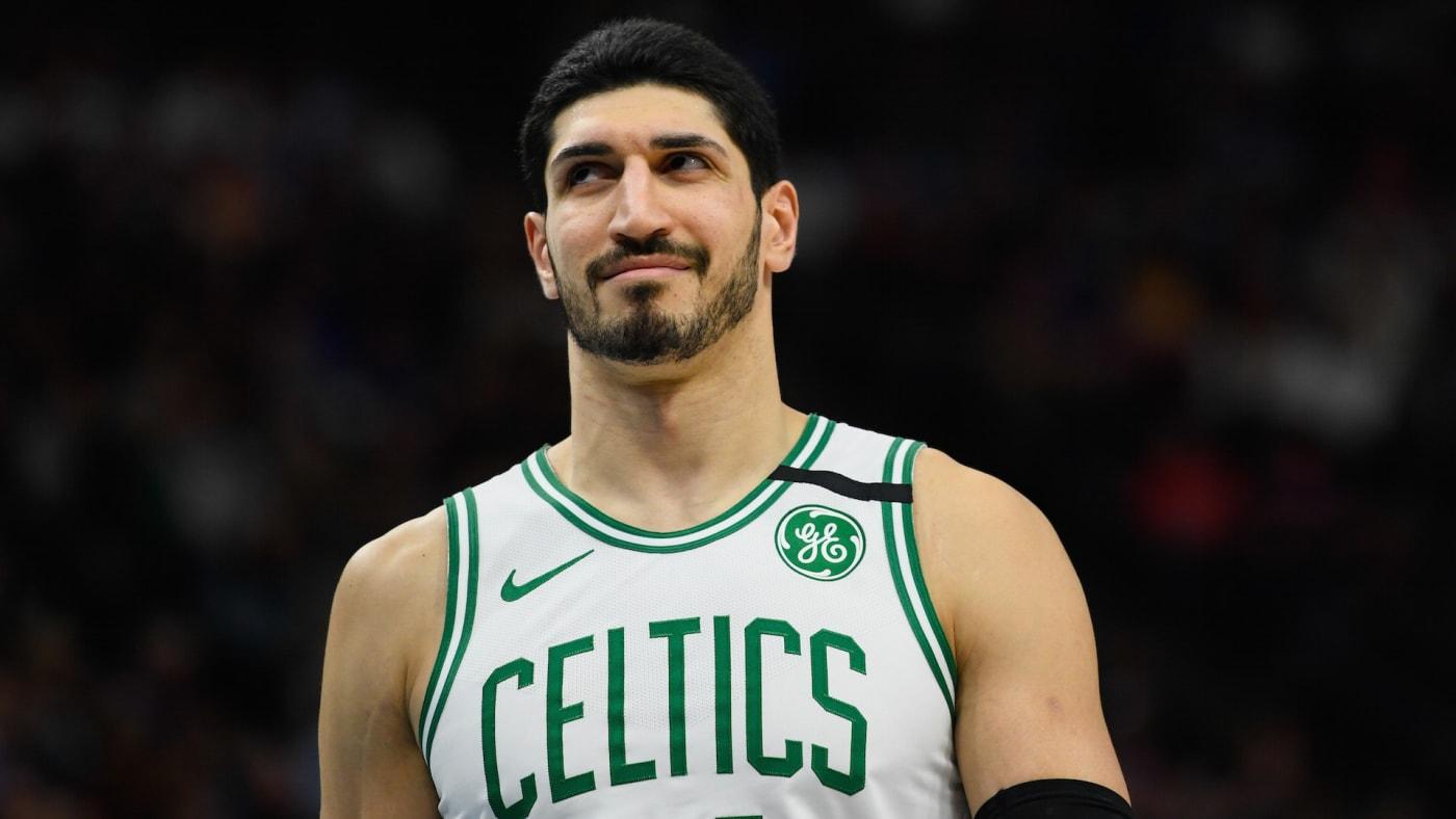 Enes Kanter #11 of the Boston Celtics looks on