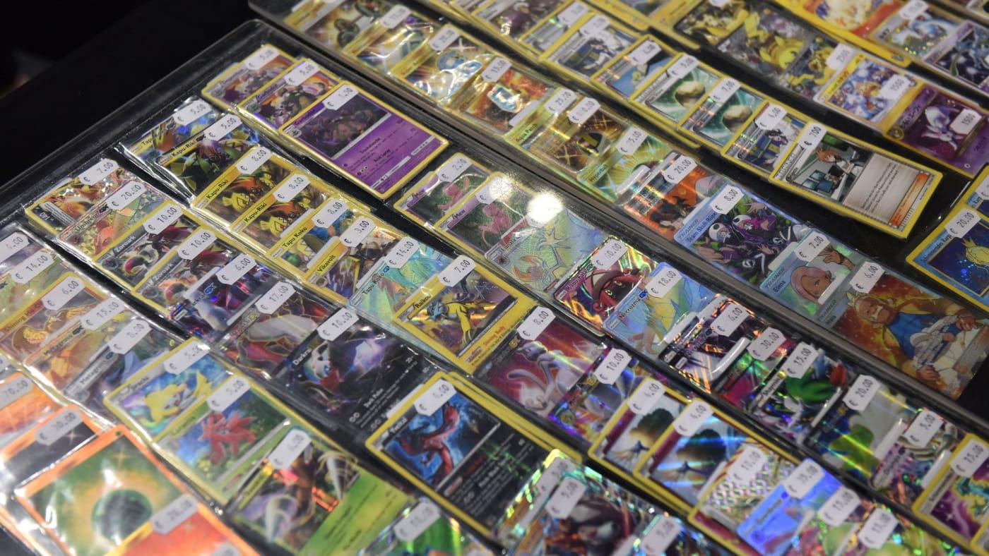 Pokémon cards for sale at the Pokémon European International Championships.