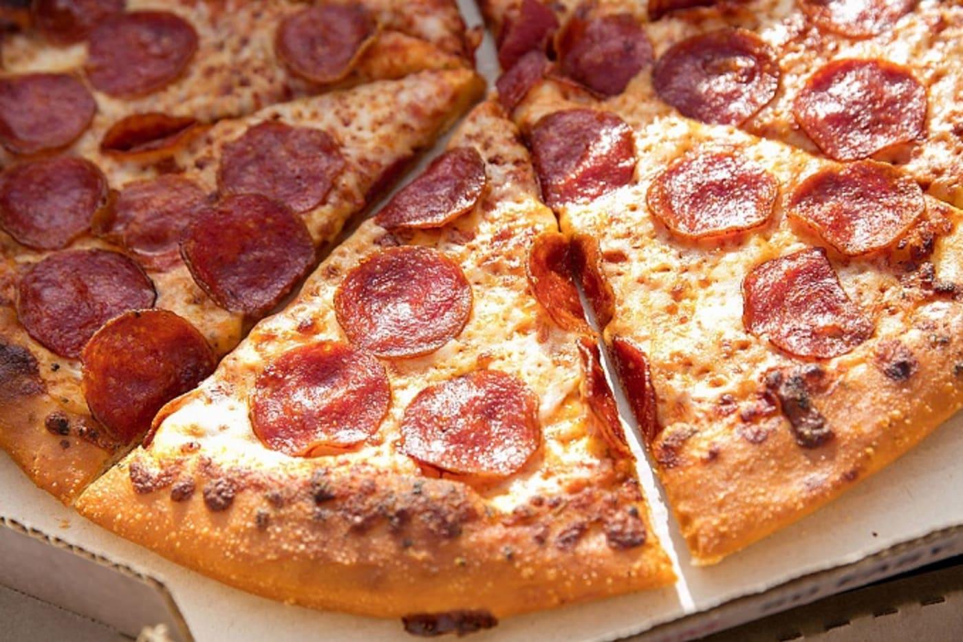 Pizza Hut pizza, man