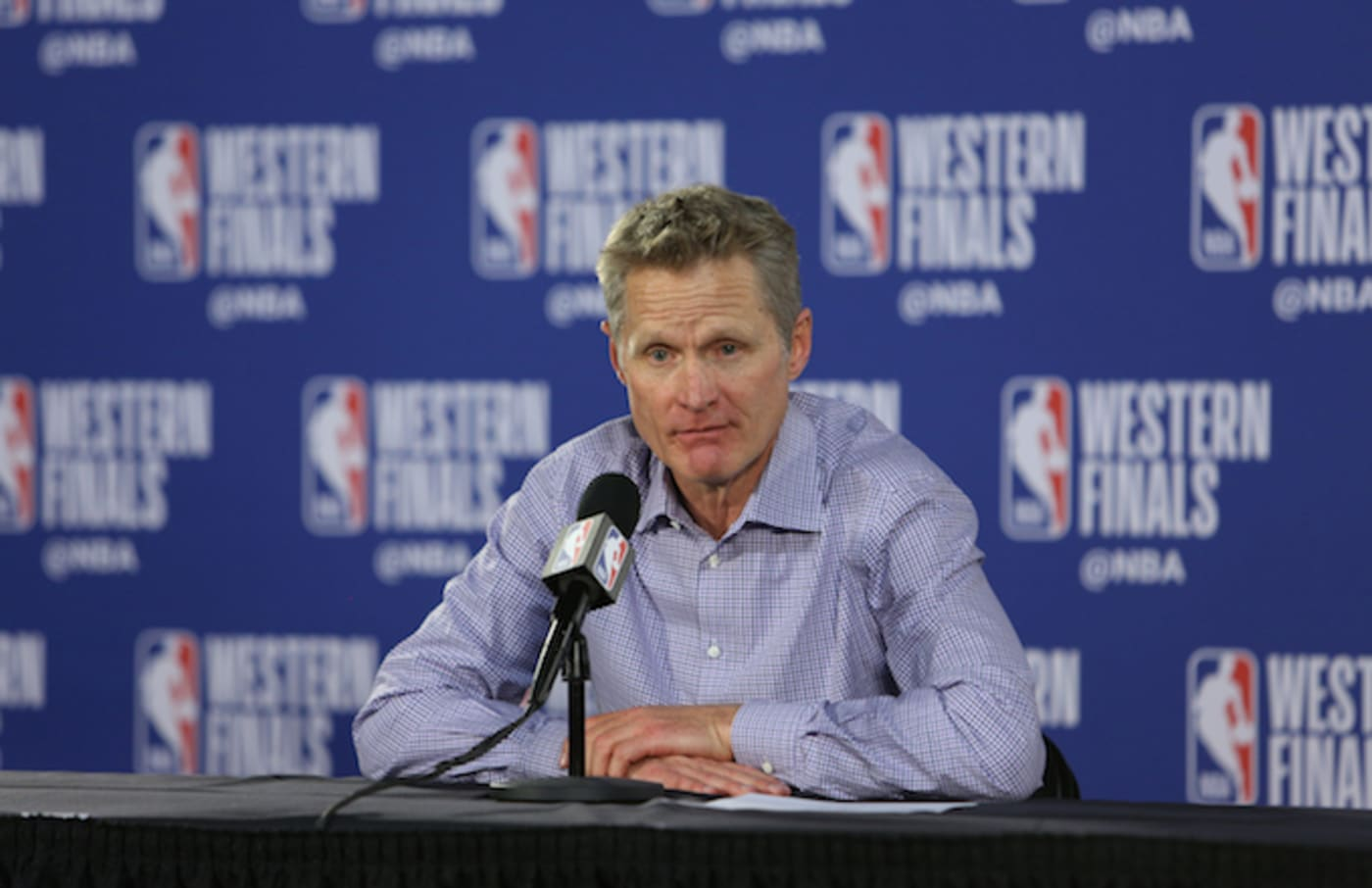 Steve Kerr speaks with media after Western Conference Finals Game Four win