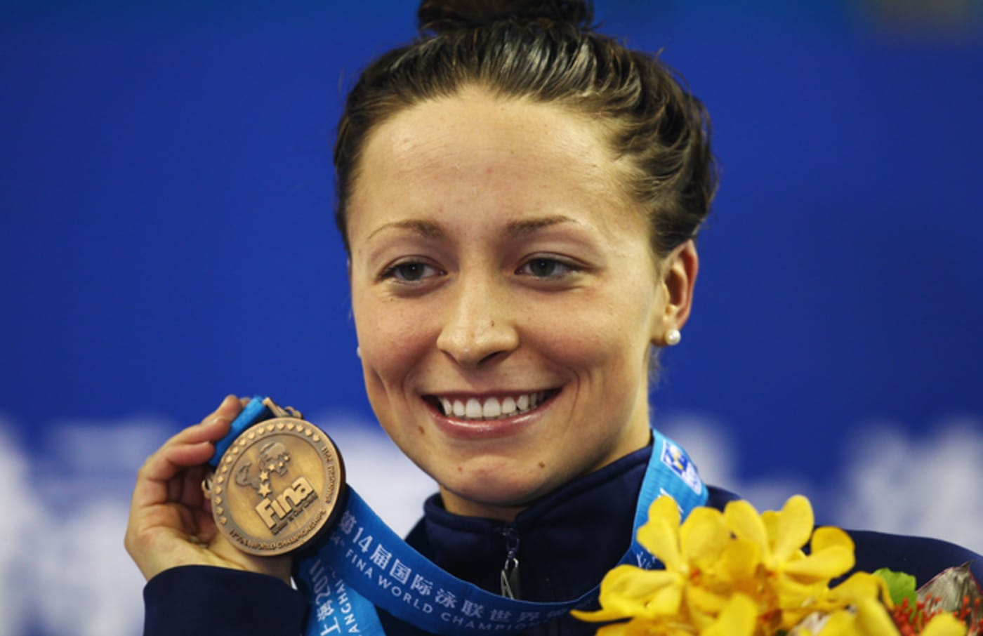 Ariana Kukors wins a bronze medal at the 14th FINA World Championships.