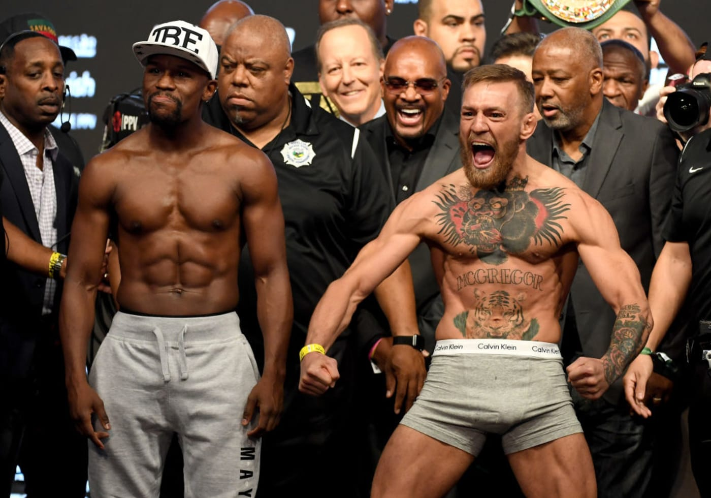 Conor McGregor Floyd Mayweather Weigh In 2017 T Mobile