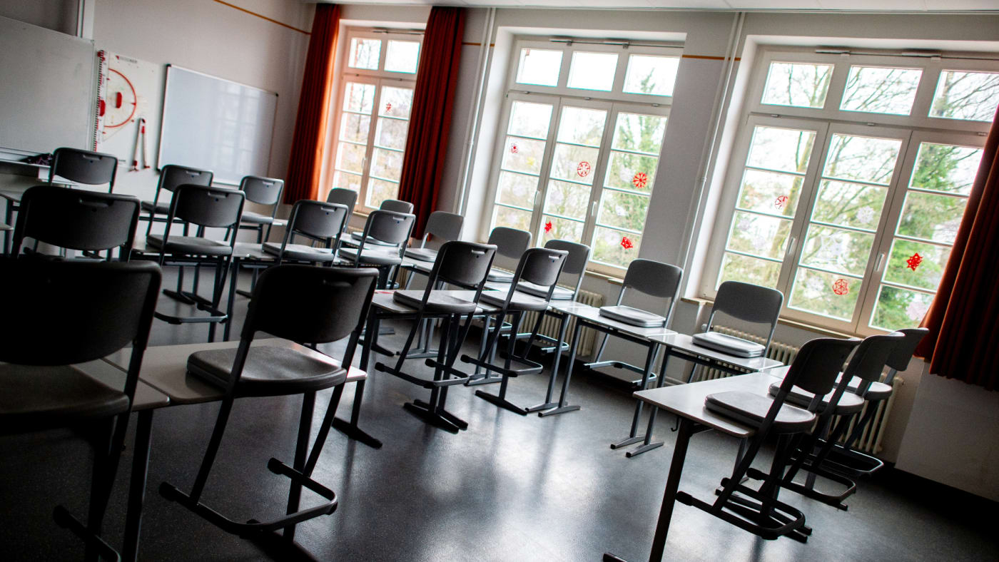 Lower Saxony, Oldenburg: Chairs and desks stand in the classroom of a school.