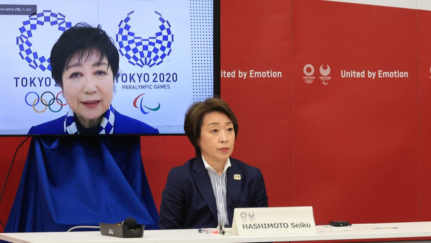 Tokyo 2020 Organising Committee president Seiko Hashimoto listens