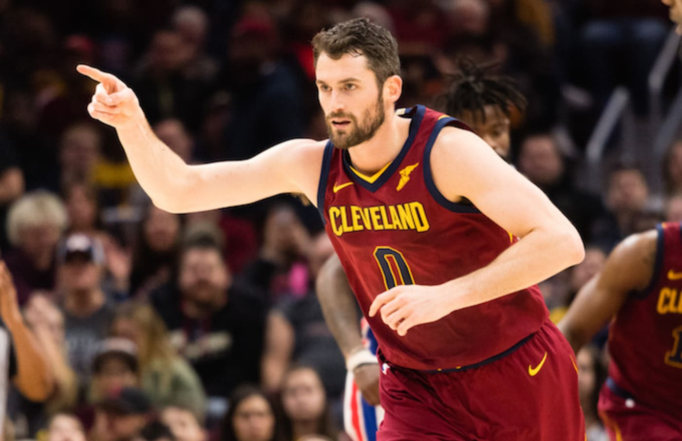 Kevin Love during a game against the Pistons.