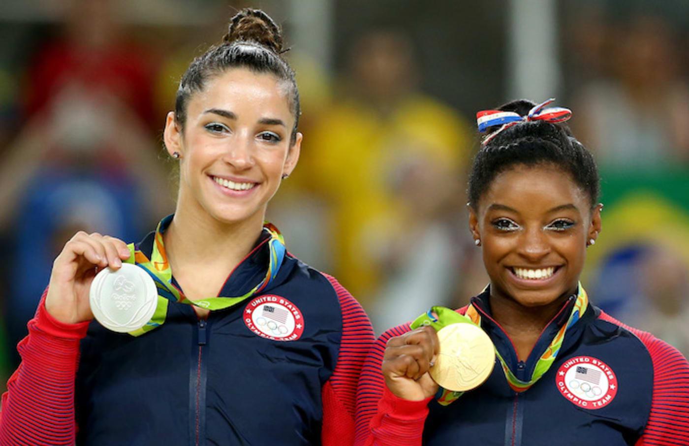 Ali Raisman and Simone Biles at the Rio Olympics.