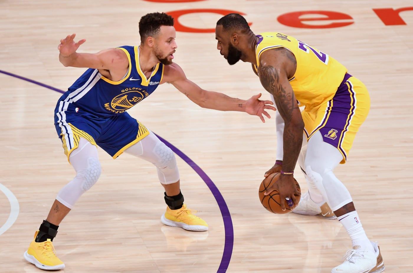Steph Curry LeBron James Staples Center 2021