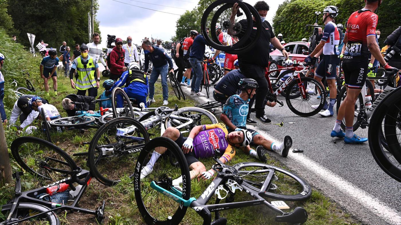 Aftermath of a crash at the Tour de France.
