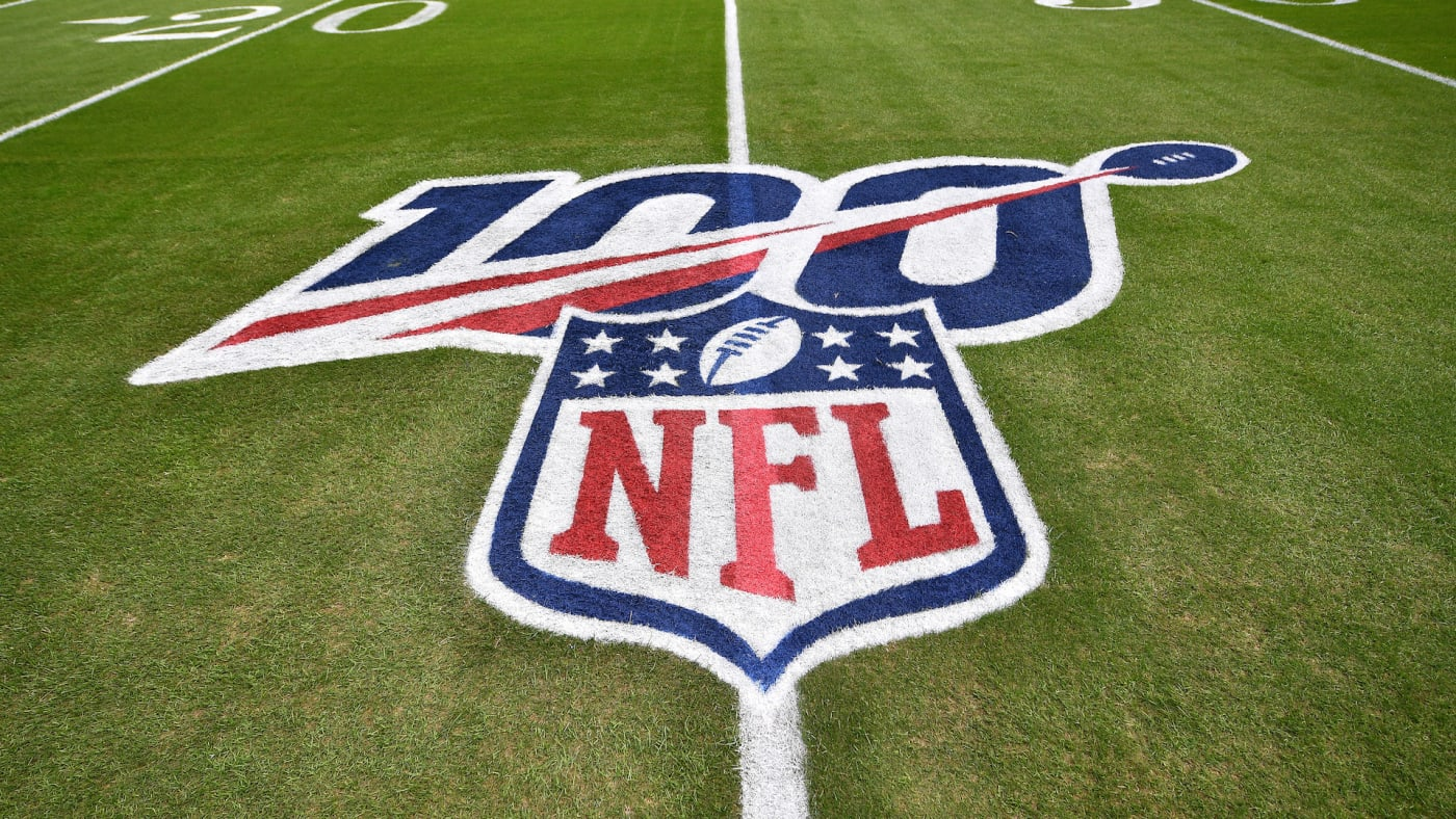 A general view of the NFL 100 logo