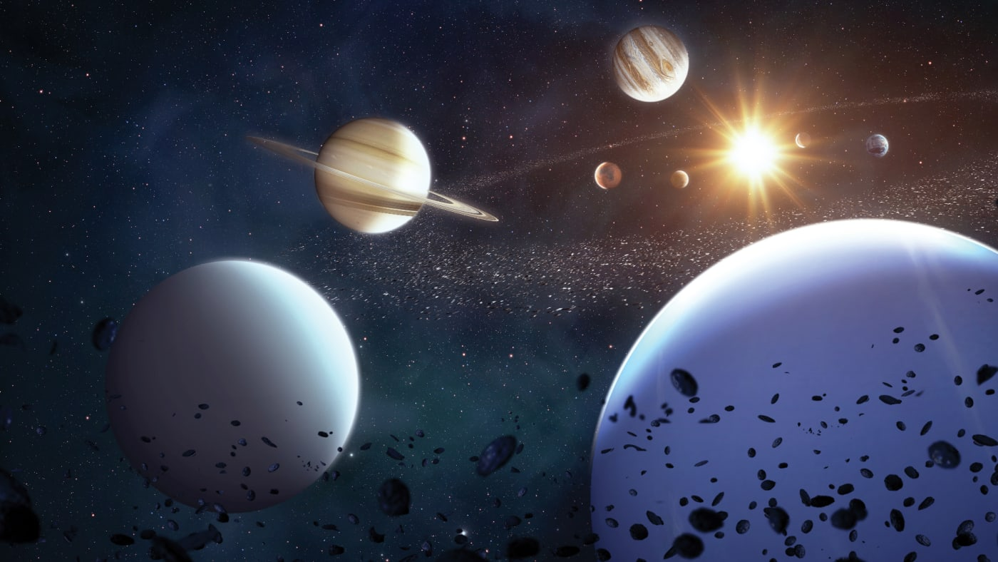 Illustration of the Solar System viewed from beyond Neptune, with all eight planets visible around the Sun.