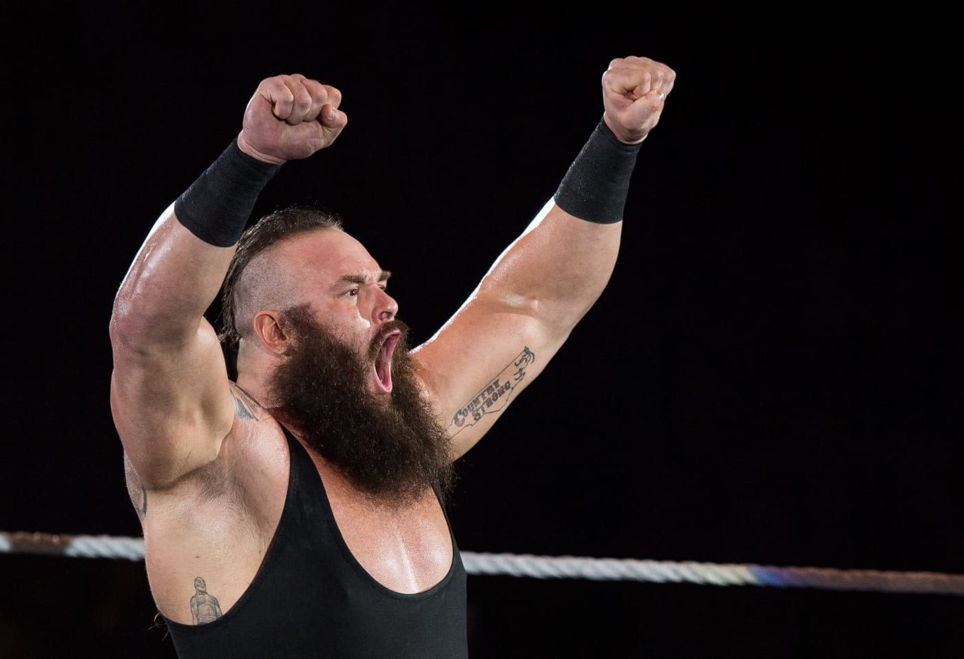 Braun Strowman reacts during to the WWE Live Duesseldorf event