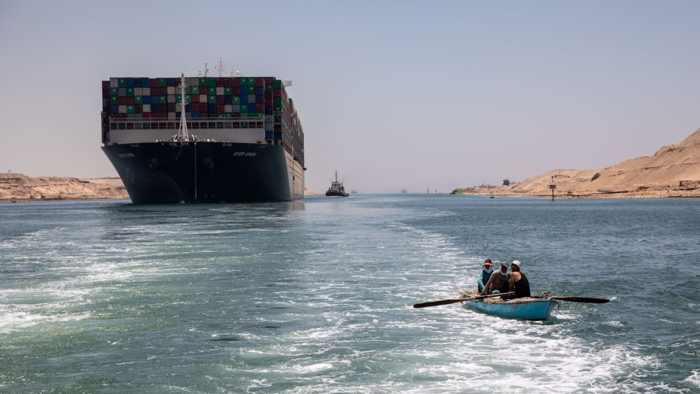 Evergreen ship is seen leaving Suez Canal to the Mediterranean after the signing of the settlement contract.