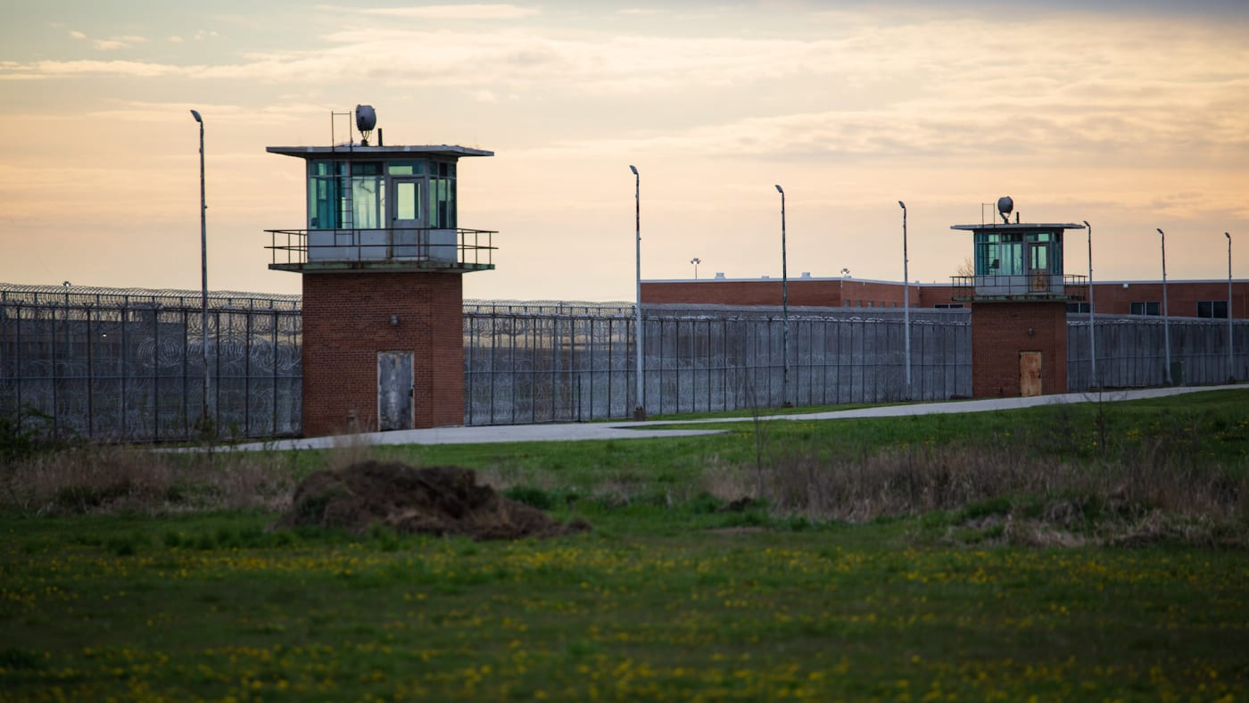 Guard towers look over the prison courtyard