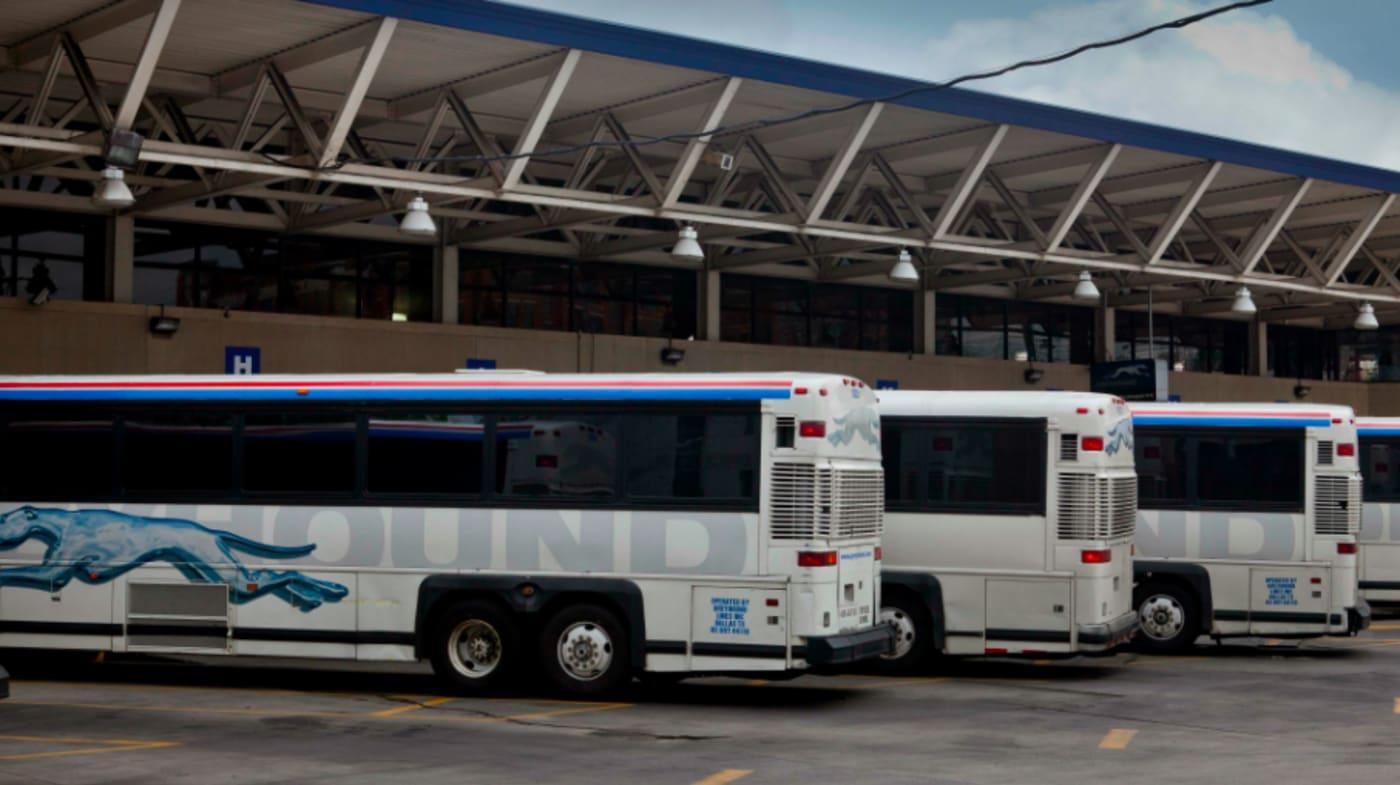 Greyhound Bus station, on First St. NE