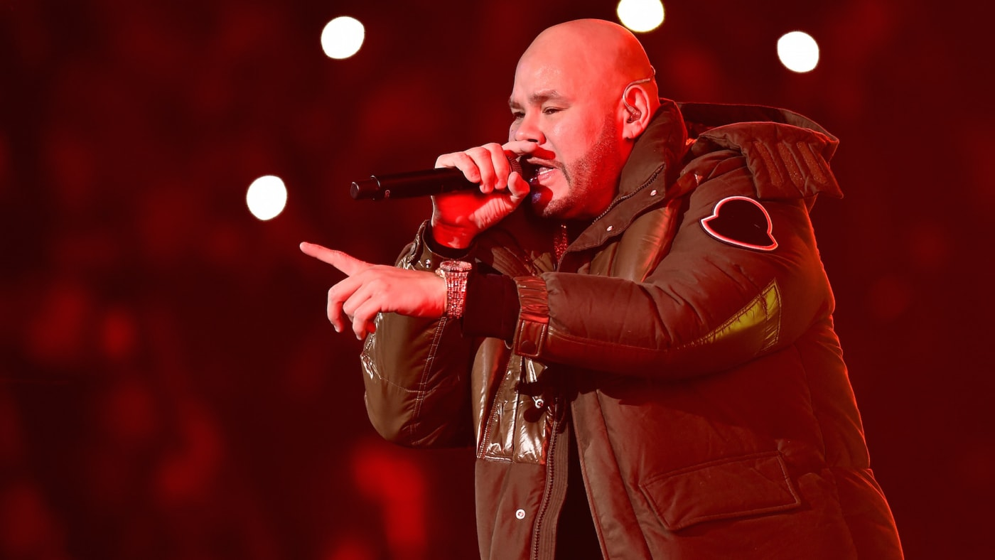 Fat Joe performs with Anuel AA on stage at Barclays Center