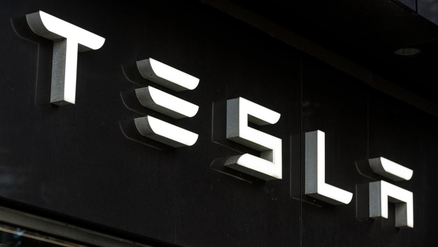 Tesla logo seen in Gothenburg.