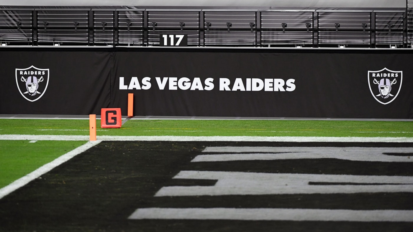 The end zone of the Las Vegas Raiders