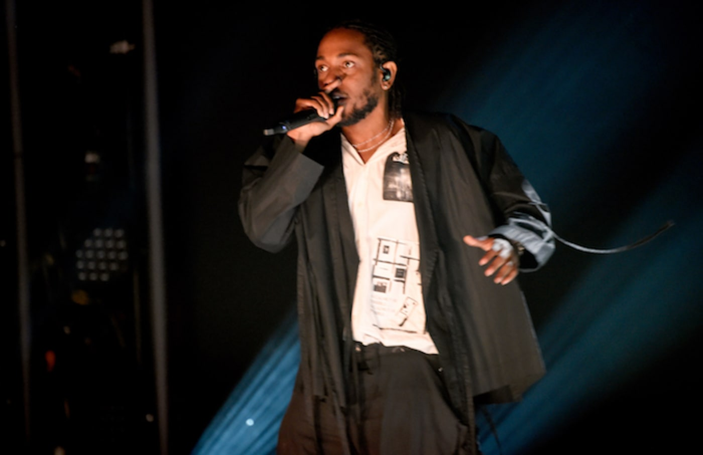 Kendrick Lamar performs onstage during the 60th Annual Grammy Awards.