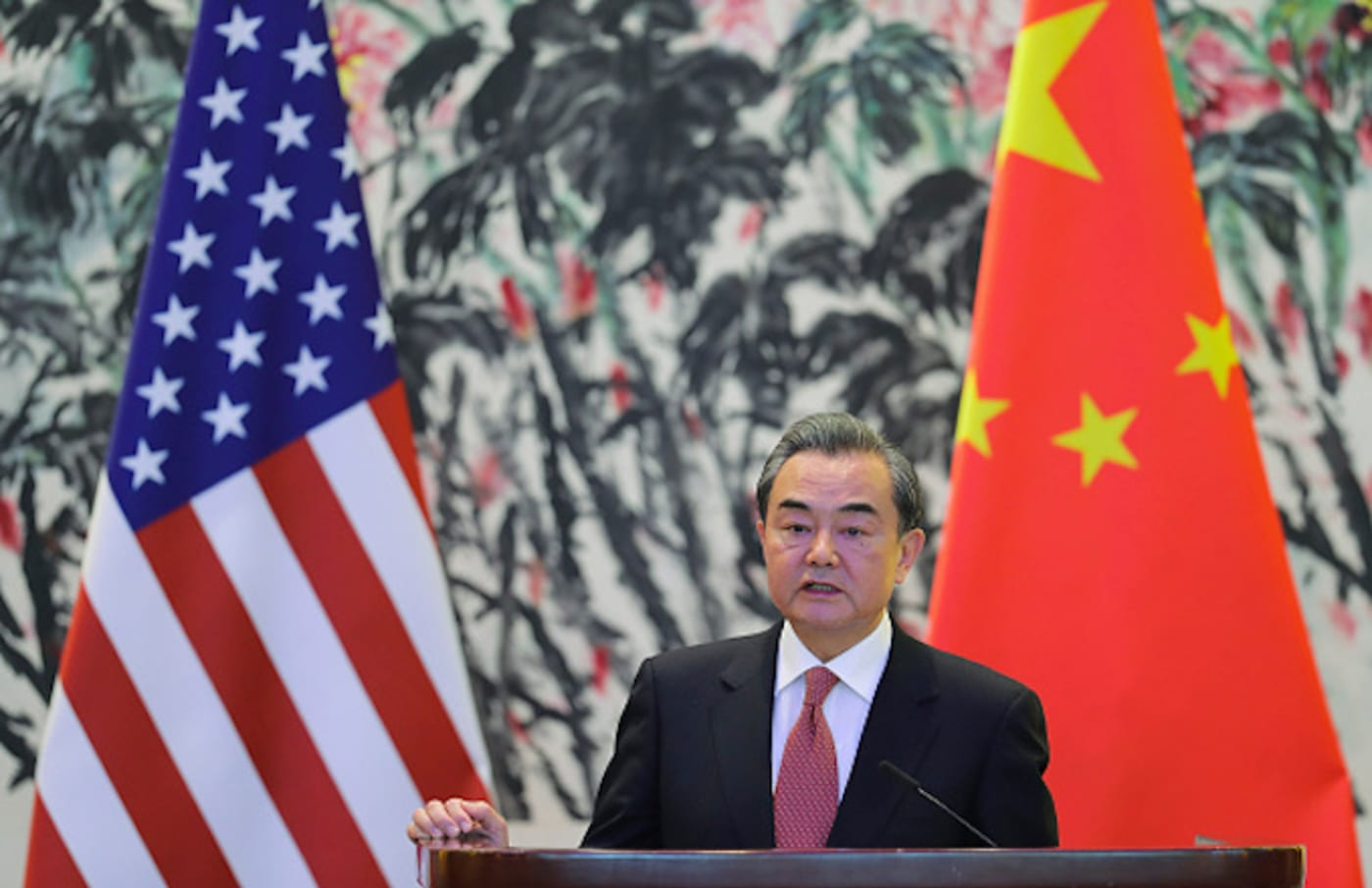 Chinese Foreign Minister Wang Yi speaks during a joint press conference
