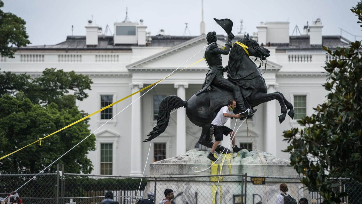 Protesters attempt to pull down the statue of Andrew Jackson in Lafayette Square.