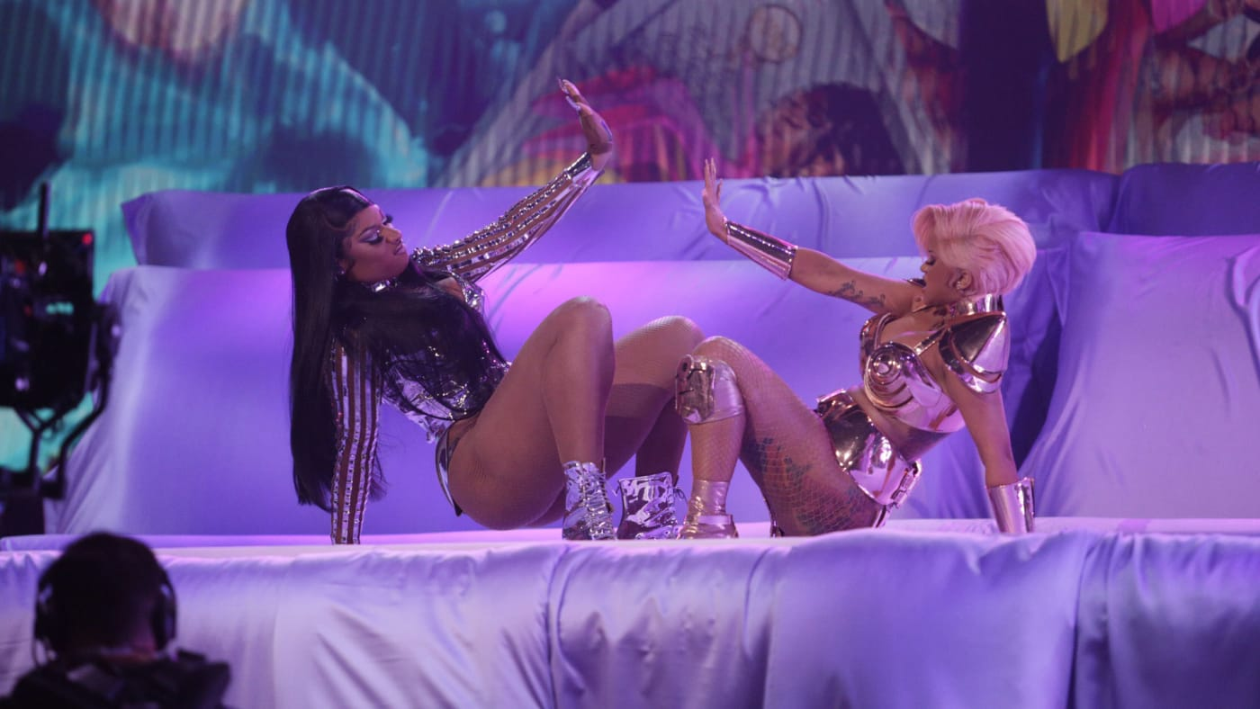 Megan Thee Stallion and Cardi B perform during the 2021 Grammy Awards.