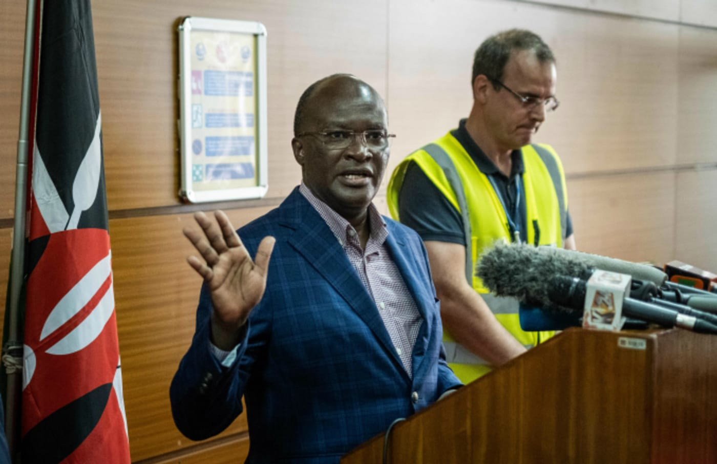 Kenya's Transport Minister James Macharia Give Speech Following Sunday's Crash