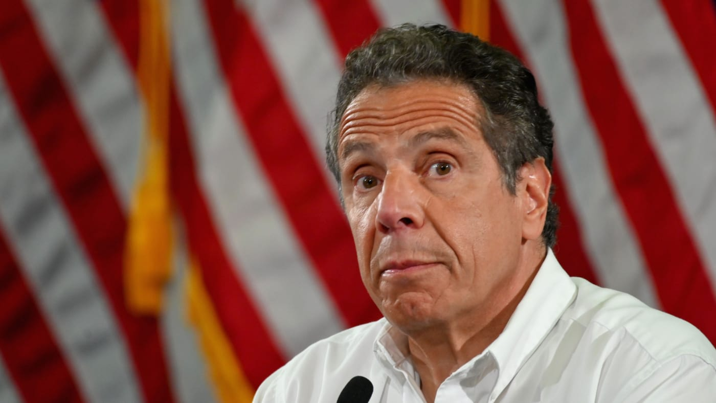 Andrew Cuomo speaks during a press briefing on COVID 19.