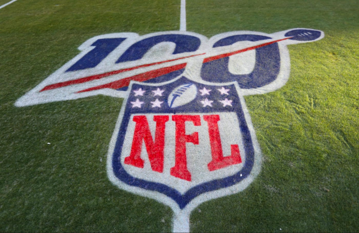 A view of the 100 year NFL logo