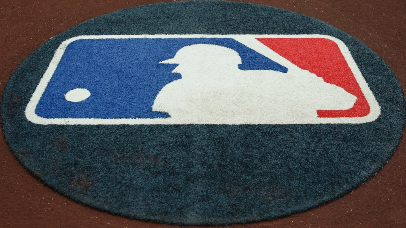 The Major League Baseball logo on the on deck circle.