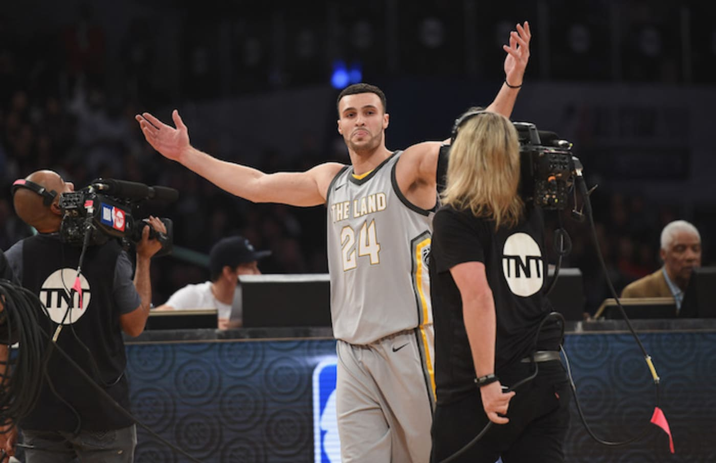 Larry Nance Jr. competiting in the Slam Dunk Contest.