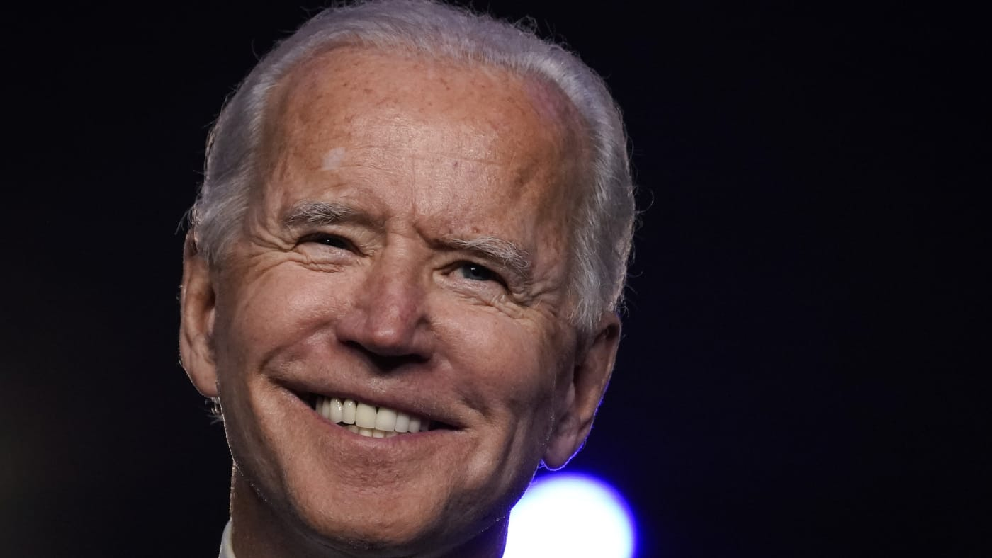 Democratic presidential nominee Joe Biden addresses the nation at the Chase Center