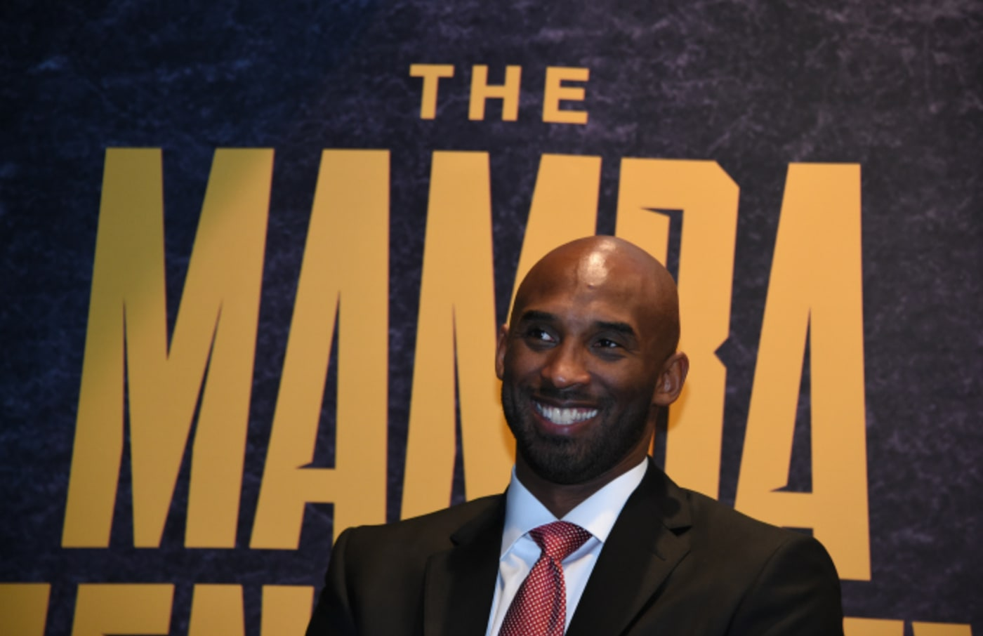 Kobe Bryant poses for a photo during the Mamba Mentality book launch