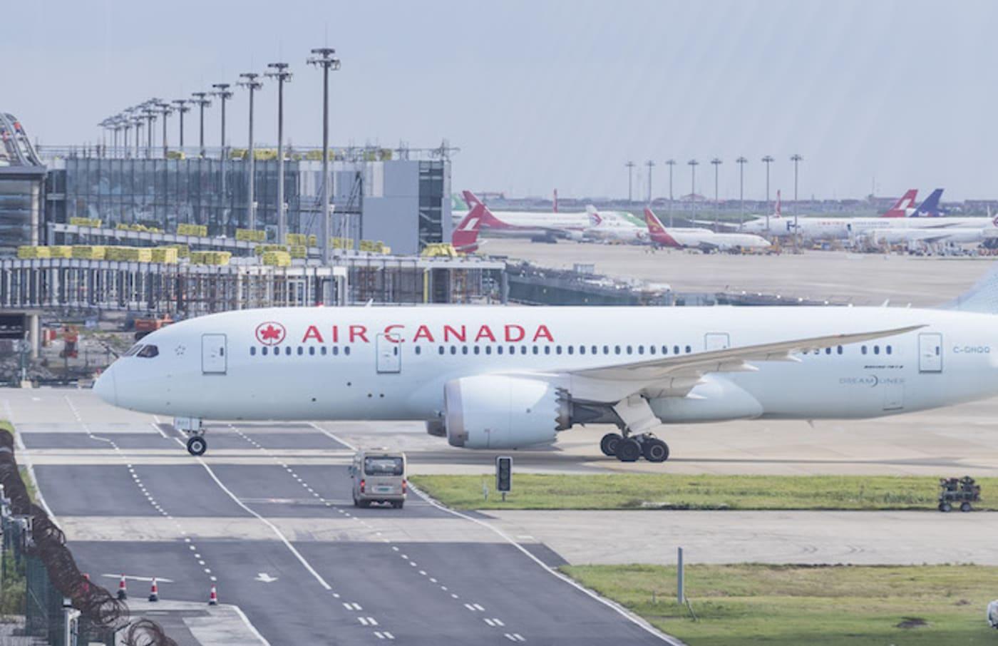 An Air Canada Boeing 787 8 Dreamliner in runaway at Shanghai Pudong International Airport.