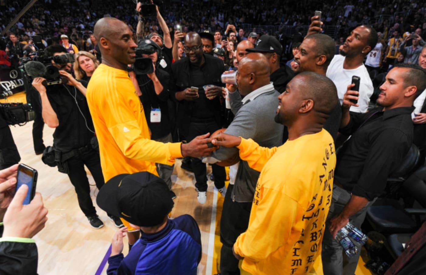 Kanye West greets Kobe Bryant