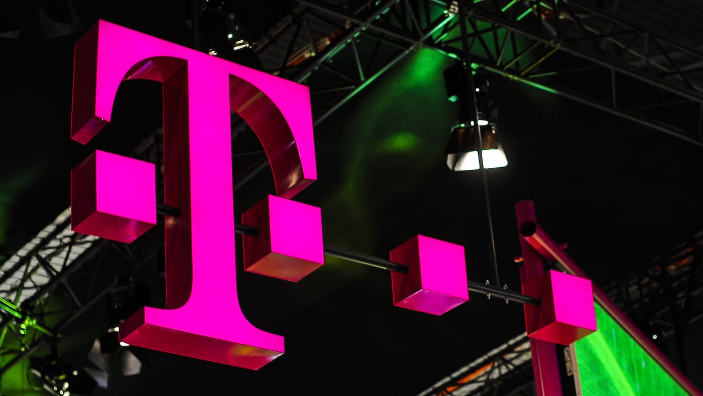 Deutsche Telekom logo exhibited during the Mobile World Congress.