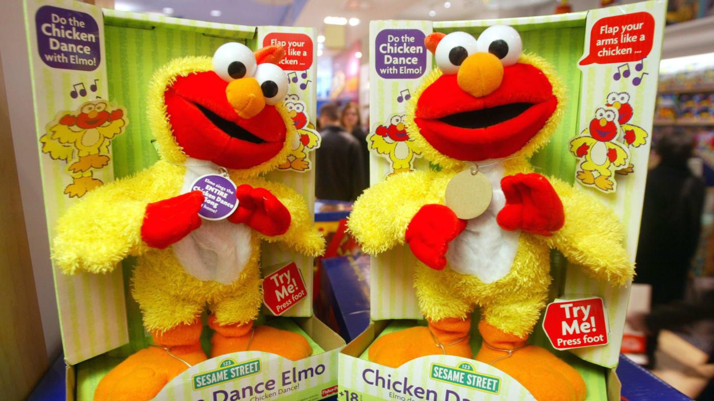 Chicken Dance Elmo doll is seen in the FAO Schwarz store