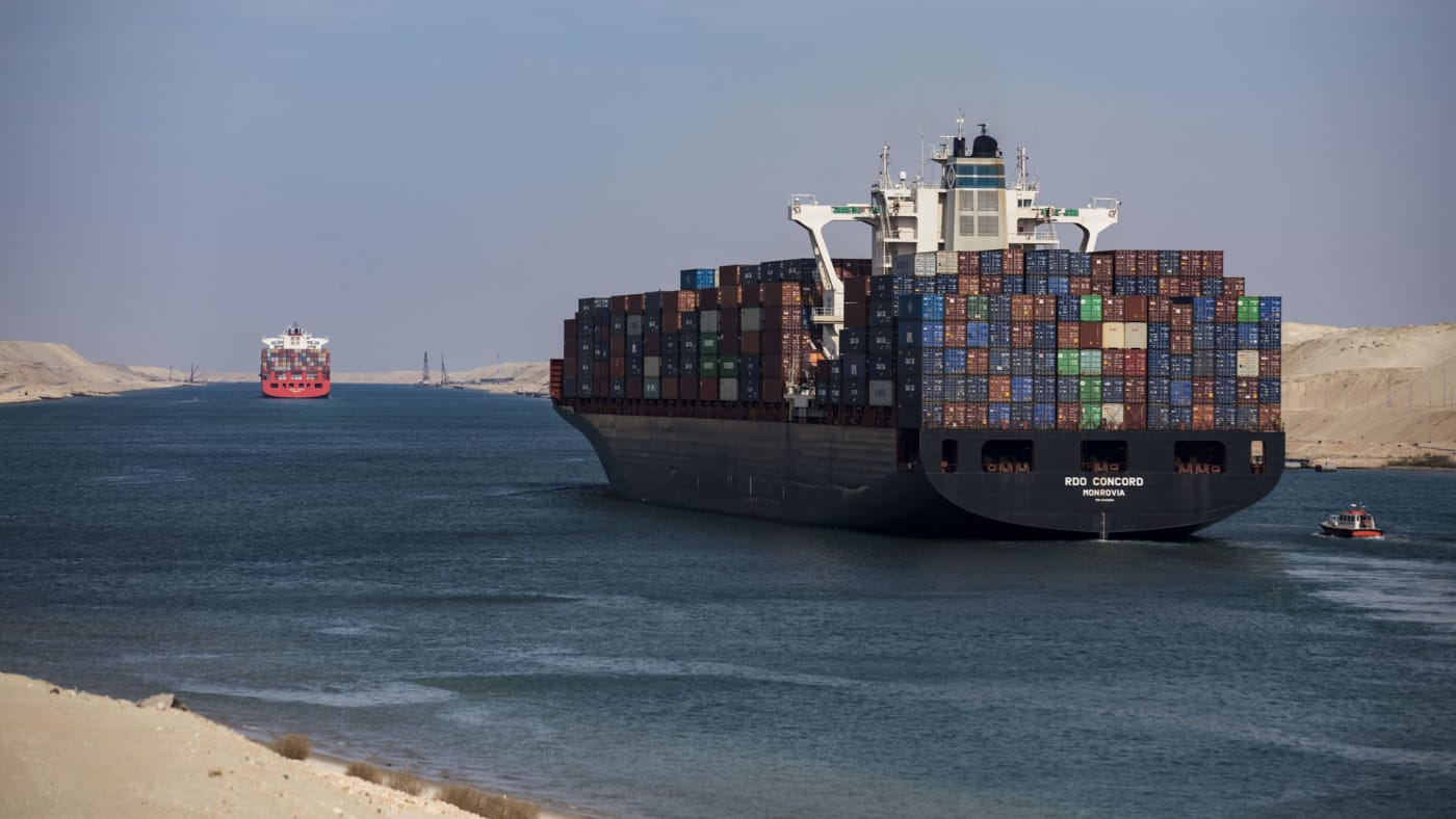 Suez Canal shipping vessel