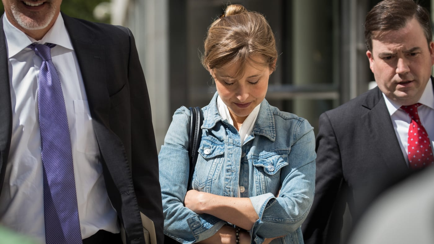 Allison Mack exits the U.S. District Court for the Eastern District of New York.