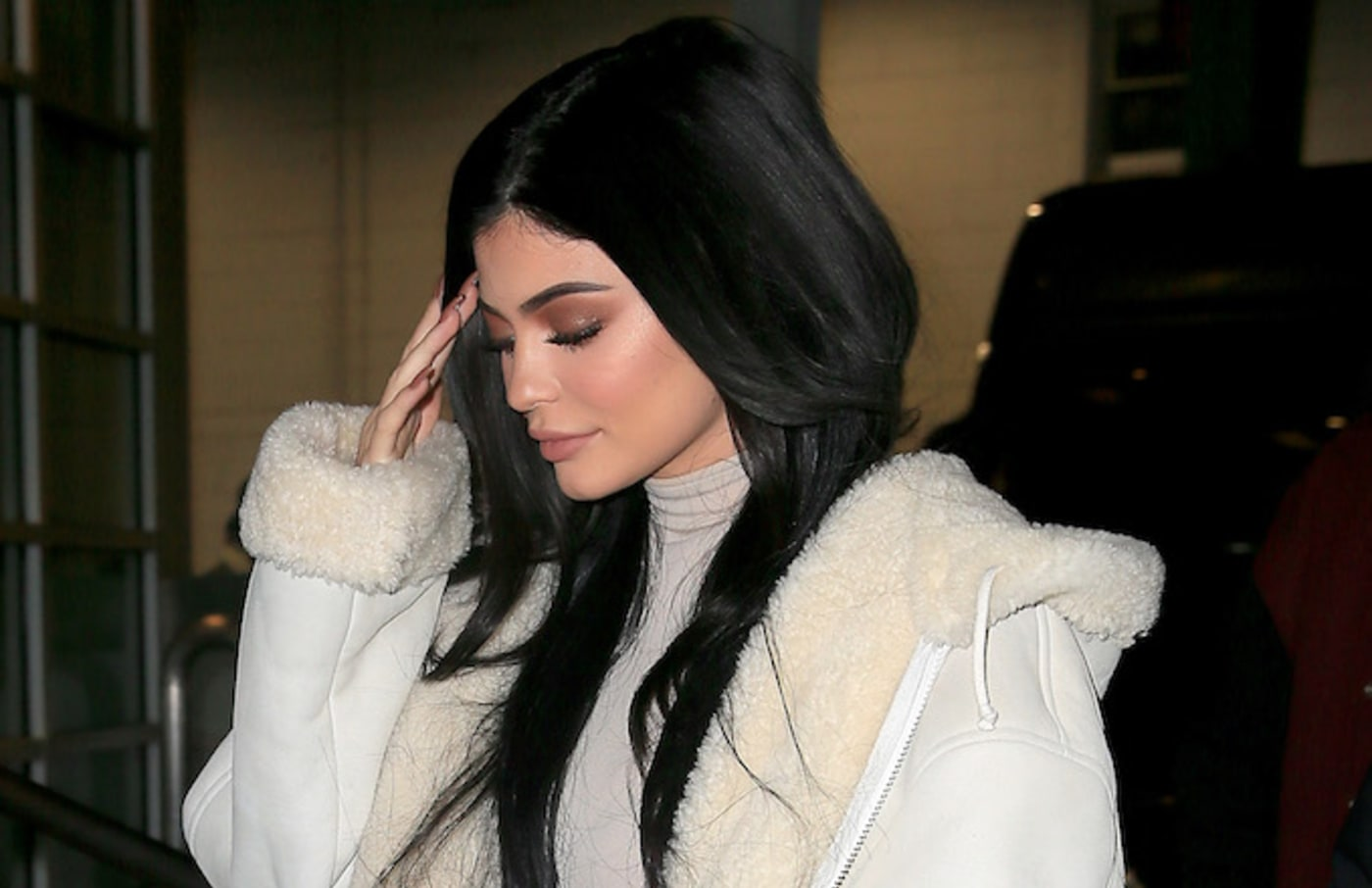 Kylie Jenner arrives at the Yeezy fashion show.