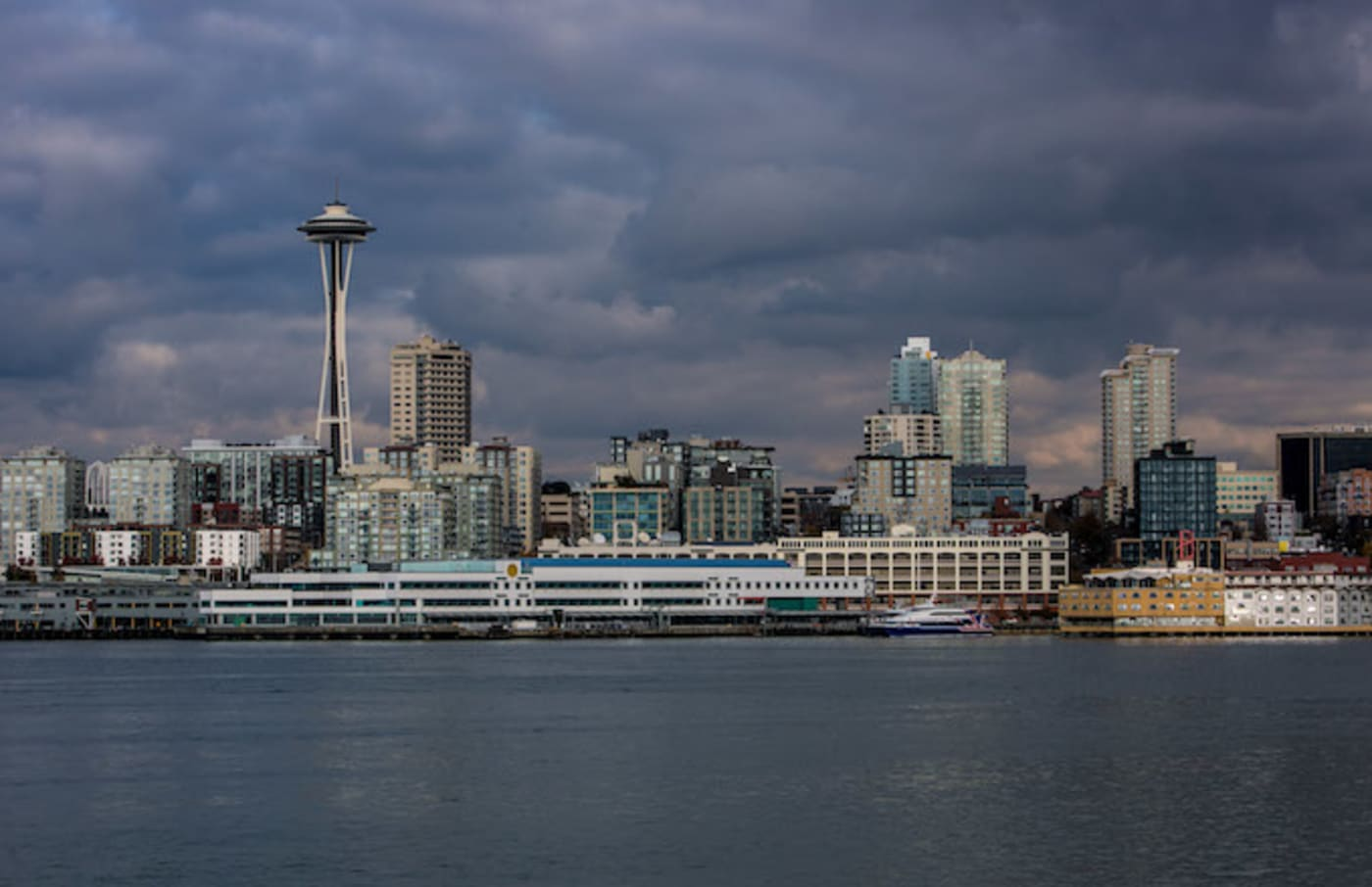 The waterfront, the Space Needle, and downtown skyline
