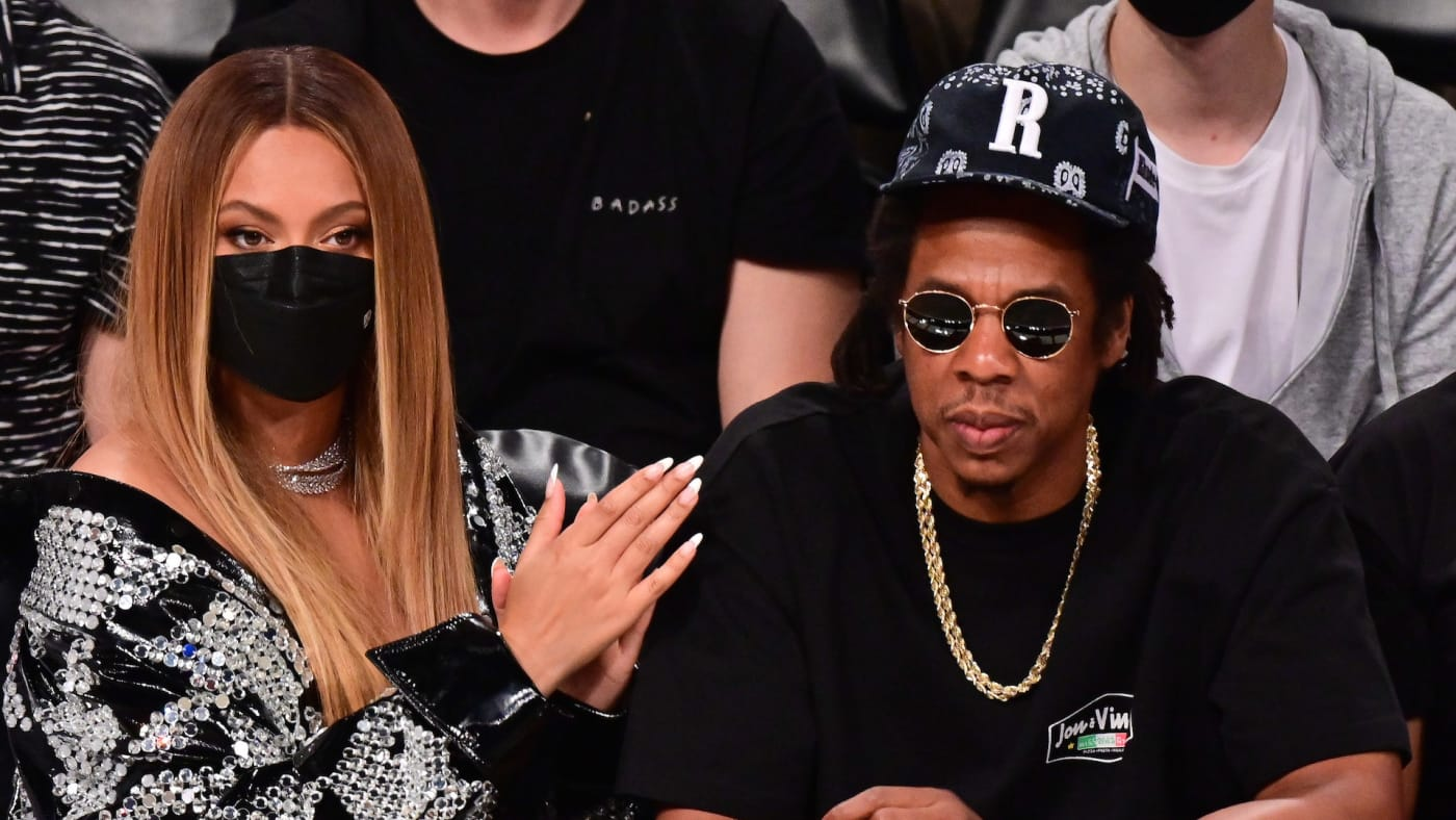Beyonce and Jay-Z attend Brooklyn Nets v Milwaukee Bucks game